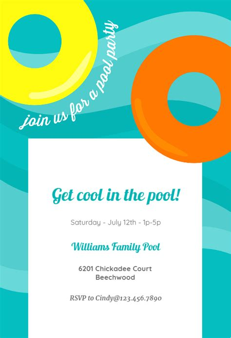 inflatable pool party pool party invitation template