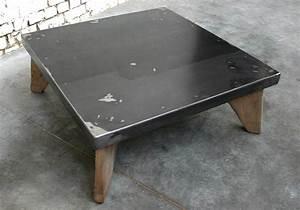 Table Basse Bois Metal Industriel : table basse sca tb004 giani desmet meubles indus bois m tal et cuir ~ Teatrodelosmanantiales.com Idées de Décoration