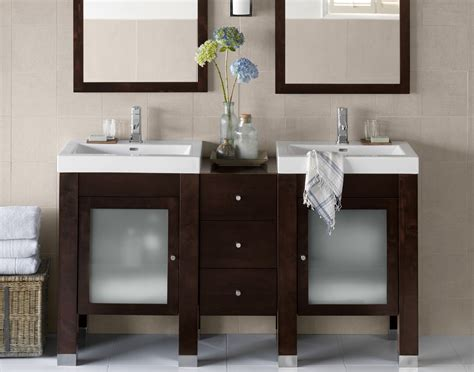 Narrow Bathroom Sinks And Vanities by Modern Narrow Vanity With Cool Blur Glass Door And