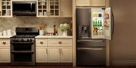 around the kitchen in the refrigerator light lg black stainless steel style design lg usa 9947