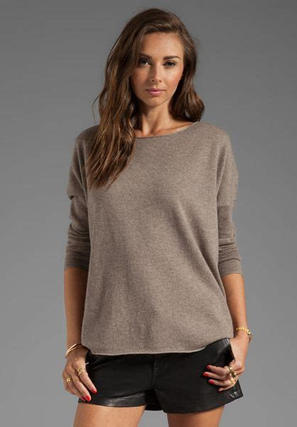 vince long sleeve shirt tail sweater  taupe  gray heather maple lyst