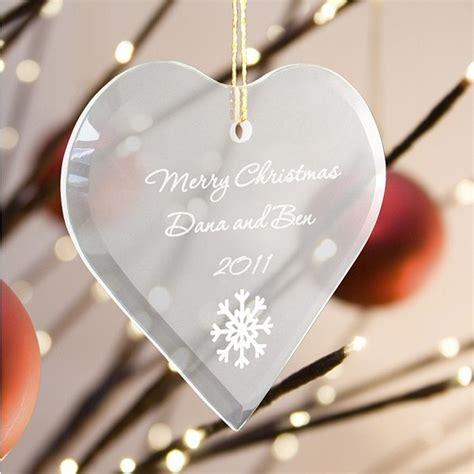 engraved glass heart christmas ornament