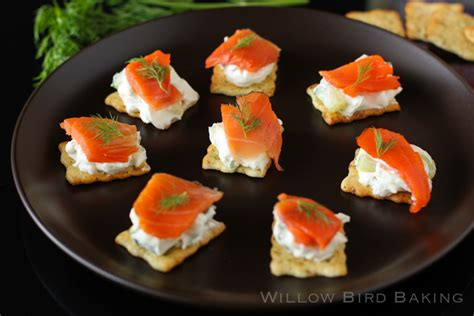canape spread salmon tzatziki canapés willow bird baking