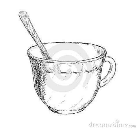 vector drawing cup  coffee  tea  spoon stock image image