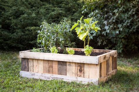 diy raised garden bed upcycled wood pallet black