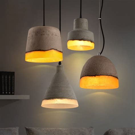 Rattan Lamp by Loomier Mini Concrete Light Shade Wire Suspended 1 Light