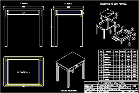 rectangular table  single drawer  dwg detail