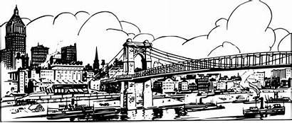Skyline Bridge Clipart Coloring Pages York Domain
