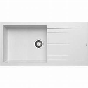 Evier Grand Bac Profond : evier encastrer granit et r sine blanc alazia 1 grand ~ Premium-room.com Idées de Décoration