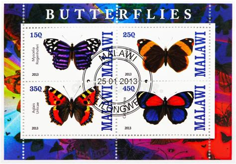 Four Postage Stamps Printed In Malawi Shows Butterflies ...