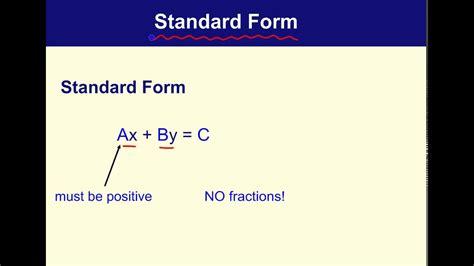 Standard Form Definition Youtube