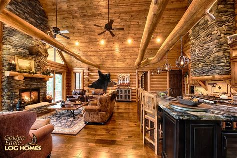 log cabin home great room kitchen dining open concept