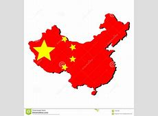 Map Of China With Flag Royalty Free Stock Photos Image