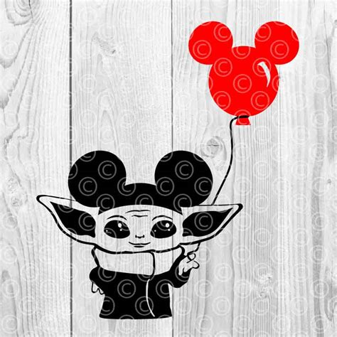 Though it can't be cuter than this baby yoda frog plush. Baby Yoda with Mickey Ears SVG DXF PNG Cut files
