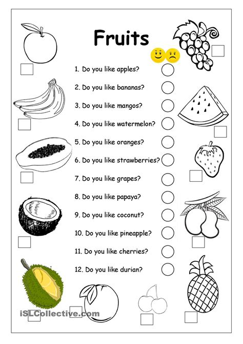 do you like apples fruits worksheet