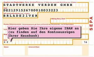 Bic Berechnen Durch Iban : einzugserm chtigung stadtwerke verden gmbh ~ Themetempest.com Abrechnung