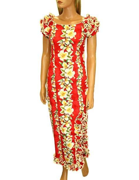 luana long muumuus hawaiian dress  ruffle hem  slit