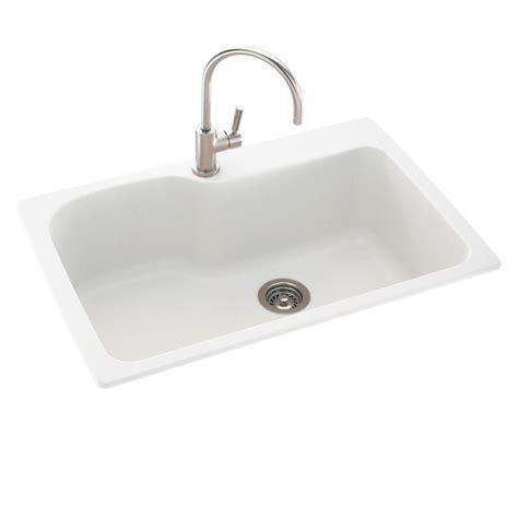 white single basin kitchen sink swan drop in undermount solid surface 33 in 1 single 1867