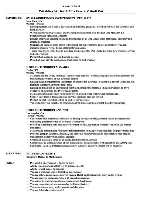 Insurance Resume by Insurance Product Resume Sles Velvet