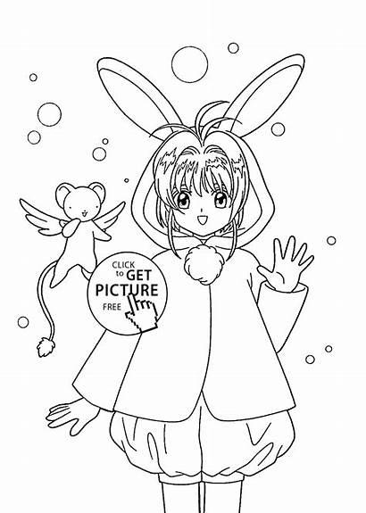 Coloring Anime Pages Sakura Printable Manga Drawing