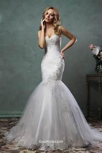 Stylish strapless sweetheart neckline tulle mermaid for Stylish wedding dresses