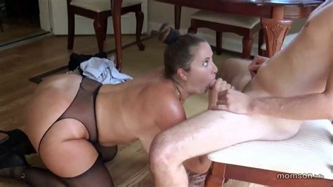 Mother Giving Blowjob To Son In Living Room