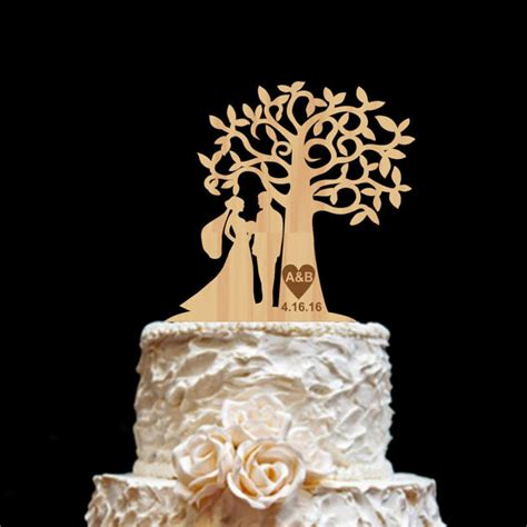 rustic wedding cake topper personalized monogram cake topper