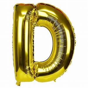 30quot foil mylar balloon gold letter d With gold letter d