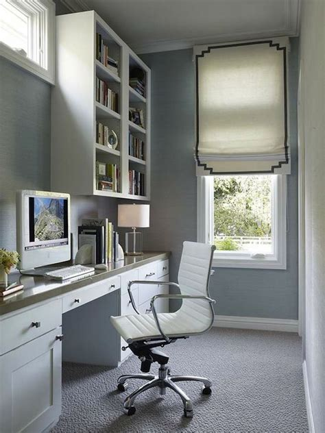 Long And Narrow Office With Blue Grasscloth Wallpaper