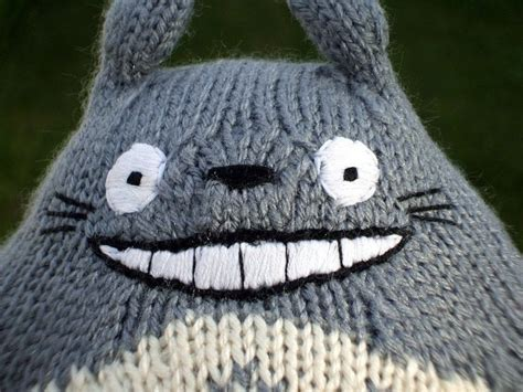 knitted totoro  bear plushie yarncraft  cut
