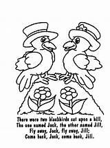 Coloring Nursery Rhyme Blackbirds Rhymes Poems Blackbird Template Songs Poetry Sheets Printable Saying sketch template