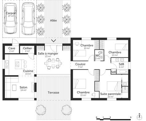 plan de maison plain pied 4 chambres avec garage plan maison contemporaine plain pied 4 chambres evtod
