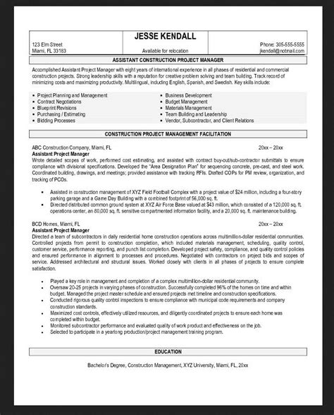 General Contractor Resume Objective Exles by General Assistant Contractor Resume Objective Exles