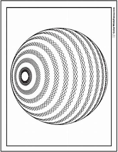 Coloring Geometric Pages 3d Sphere Pattern Detailed