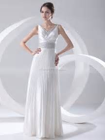 column wedding dress v neck pleated elastic satin column wedding dress with sequined detail