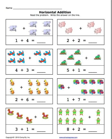 pre  addition worksheets click  add