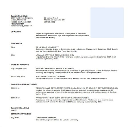 Free Format Of Resume In Ms Word by Free Resume Templates Word Cyberuse