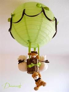 Lustre Montgolfière Bebe : lampe montgolfi re enfant b b ours vert et marron chocolat enfant b b luminaire enfant b b ~ Teatrodelosmanantiales.com Idées de Décoration