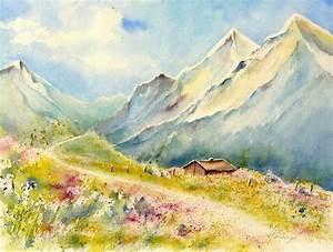 Bilder Bäume Gemalt : bild berge landschaft fr hling aquarell von ildiko passarge bei kunstnet ~ Orissabook.com Haus und Dekorationen