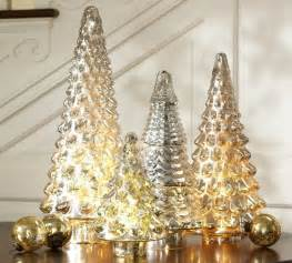 silver mercury glass tree traditional holiday accents and figurines by pottery barn