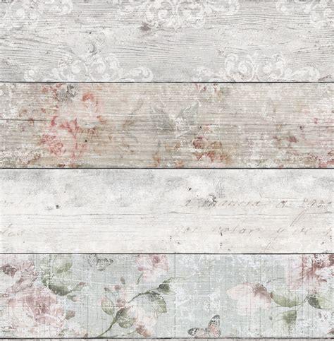 shabby chic wallpaper b q grey pink distressed floral wood flat wallpaper departments diy at b q renovation