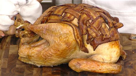 turkey wrapped in bacon bacon wrapped turkey camila alves shows how it s done today com