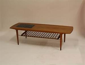 Table Basse Vintage : table basse vintage en teck avec carreaux en c ramique et porte revues en cuir en vente sur pamono ~ Teatrodelosmanantiales.com Idées de Décoration