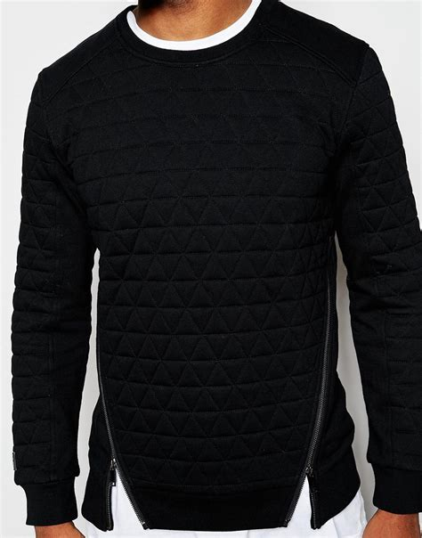 quilted hoodie mens black kaviar quilted sweatshirt in black for lyst