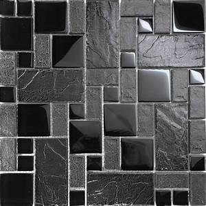 10SF Black Stone Glass Blend Pattern Mosaic Tile Kitchen