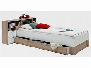 Lit 90x200 cm avec tête de lit et tiroir FABIO Vente de