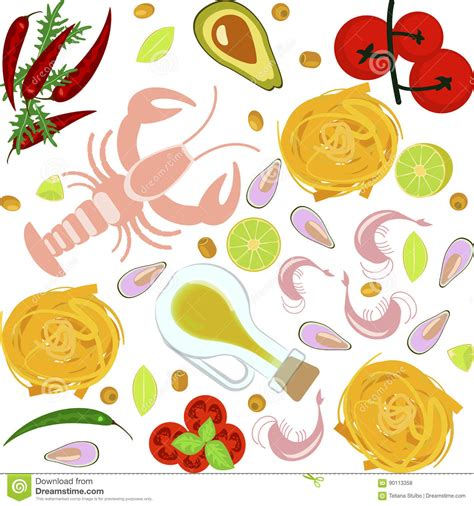 fresh flats plans designs sea fish illustrations vector stock images
