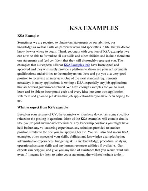 Exle Of Federal Resume With Ksa by Ksa Exles