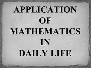 math in daily life