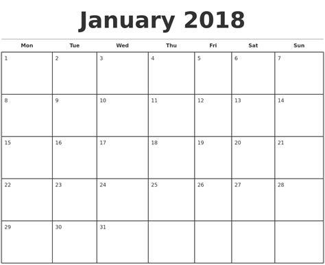 Monthly Calendar Template 2018 January 2018 Monthly Calendar Template